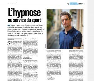 Article Corse Matin - Brice Guyon hypnose et sport