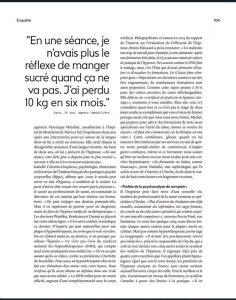 Article sur l'hypnose dans Marie-Claire